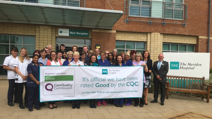 Independent assessors rate BMI The Meriden Hospital as 'good' across each and every area inspected